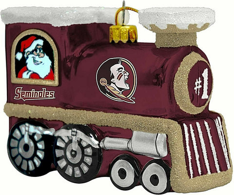 FLORIDA STATE SEMINOLES NCAA Blown Glass Train Christmas Tree Ornament