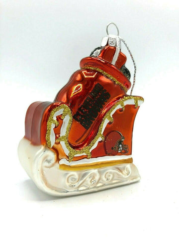 CLEVELAND BROWNS NFL Blown Glass Glitter Sleigh Christmas Ornament