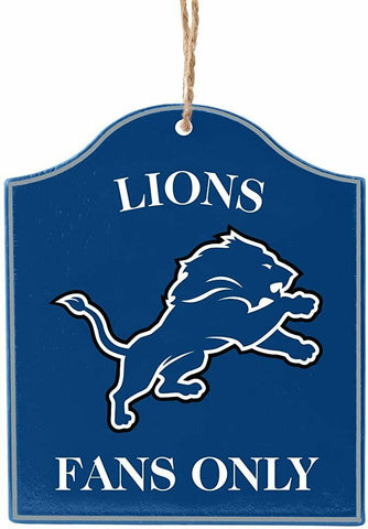 "DETROIT LIONS NFL Wooden ""Fans Only"" Sign Christmas Ornament"