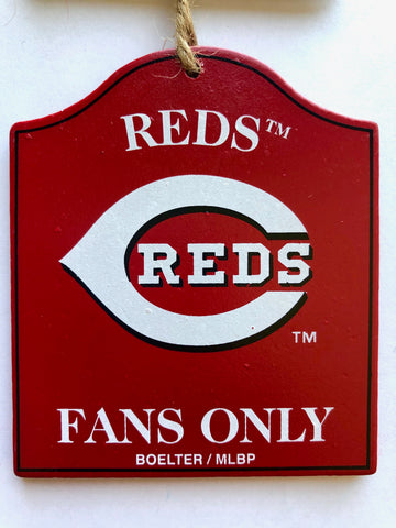 "CINCINNATI REDS MLB Wooden ""Fans Only"" Sign Christmas Ornament"