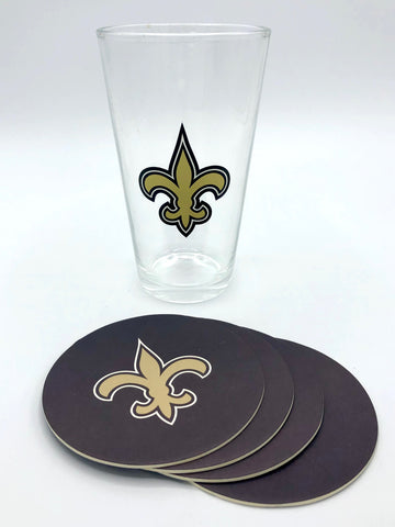 NEW ORLEANS SAINTS NFL Pint Glass and Coaster Set