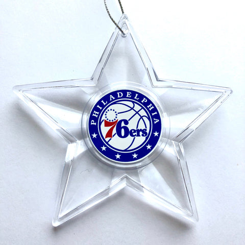 PHILADELPHIA 76ERS NBA Traditional Acrylic Star Christmas Ornament