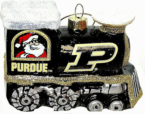 PURDUE BOILERMAKERS NCAA Blown Glass Train Christmas Tree Ornament