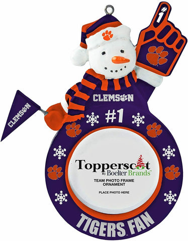 CLEMSON TIGERS NCAA Snowman Photo Frame Christmas Ornament