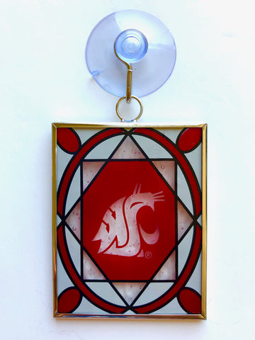 WASHINGTON STATE COUGARS Stained Glass Christmas Ornament & Suncatcher