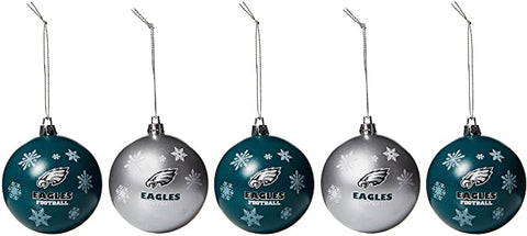 PHILADELPHIA EAGLES NFL 5-Pack Shatterproof Ball Ornament Set