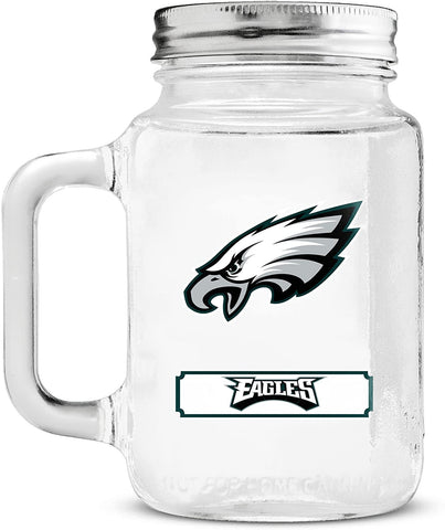 PHILADELPHIA EAGLES NFL Glass Mason Jar Cup with Stainless Steel Lid, 20oz
