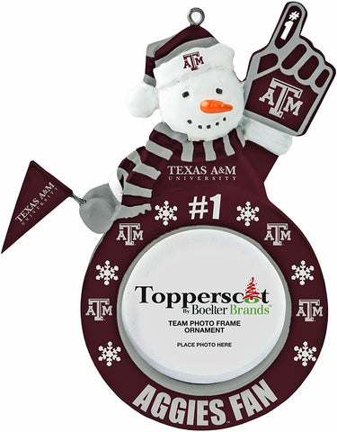 TEXAS A&M AGGIES NCAA Snowman Photo Frame Christmas Ornament