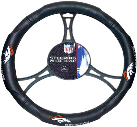 "DENVER BRONCOS NFL Premium Synthetic Leather Steering Wheel Cover 14.5"" x 15.5"""