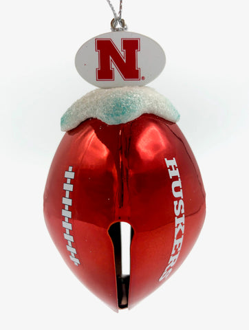 NEBRASKA CORNHUSKERS NCAA Metal Football Bell Christmas Ornament