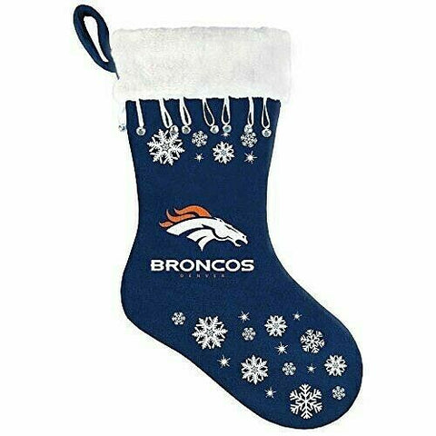 DENVER BRONCOS NFL Snowflake Christmas Santa Stocking
