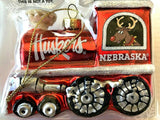 NEBRASKA CORNHUSKERS NCAA Blown Glass Train Christmas Tree Ornament