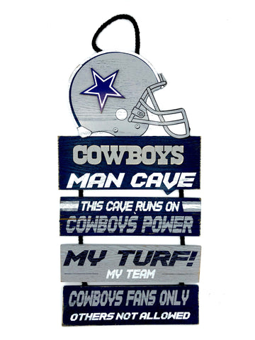 "DALLAS COWBOYS NFL Team Helmet Rustic ""Man Cave"" 4-Piece Wood Sign"