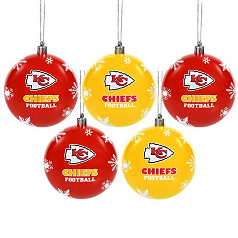 KANSAS CITY CHIEFS NFL 5-Pack Shatterproof Ball Ornament Set