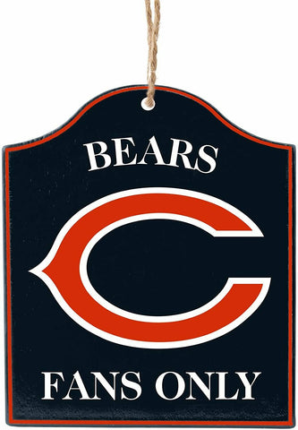"CHICAGO BEARS NFL Wooden ""Fans Only"" Sign Christmas Ornament"
