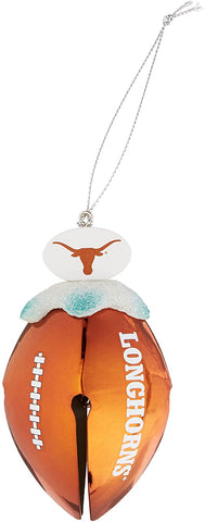TEXAS LONGHORNS NCAA Metal Football Bell Christmas Ornament