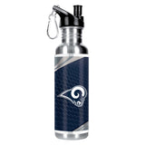 LOS ANGELES RAMS Stainless Steel Water Bottle w/ Metallic Graphics,