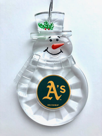 OAKLAND ATHLETICS MLB Traditional Acrylic Snowman Ornament