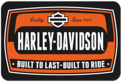 HARLEY-DAVIDSON Bike Tag Low Pile Round Edge Rug, 20 x 30 Inches Wear Marks New