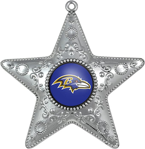 BALTIMORE RAVENS NFL Silver Star Christmas Ornament