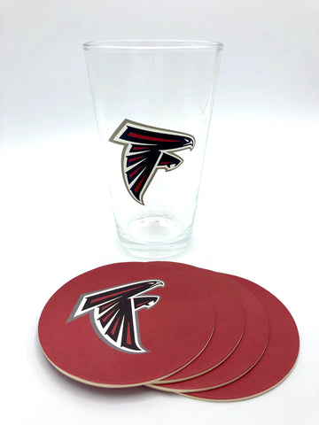 ATLANTA FALCONS NFL Pint Glass and Coaster Set