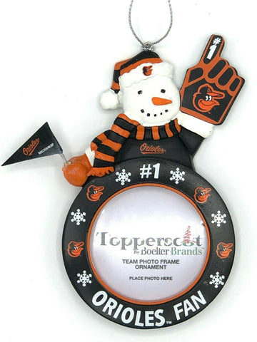 BALTIMORE ORIOLES MLB Snowman Photo Frame Christmas Ornament