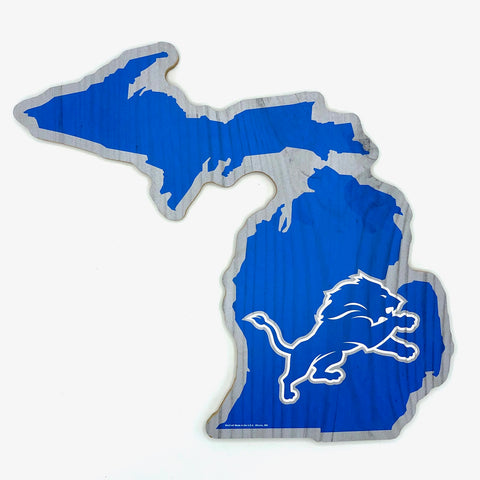 DETROIT LIONS NFL State of Michigan Shaped Wood Sign