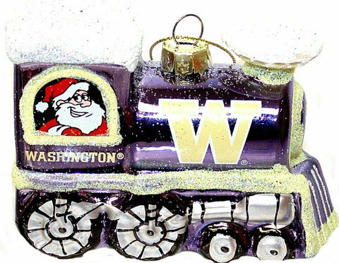 WASHINGTON HUSKIES NCAA Blown Glass Train Christmas Tree Ornament