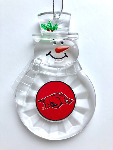 ARKANSAS RAZORBACKS NCAA Traditional Acrylic Snowman Ornament