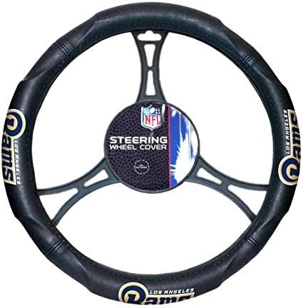 "LOS ANGELES RAMS NFL Synthetic Leather Steering Wheel Cover 14.5"" x 15.5"""