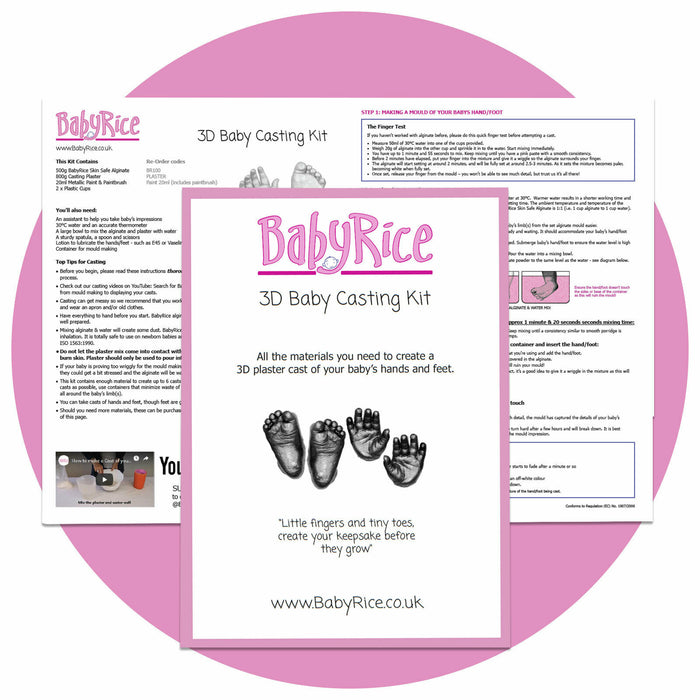New BabyRice Baby Casting Kit 3D Plaster Hand print Footprint Hand Foot Casts