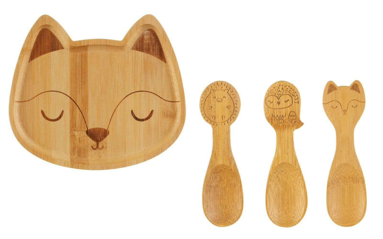 Bamboo Plate 3 Pack Spoons Available Individually or as Set Baby Toddler Dinner