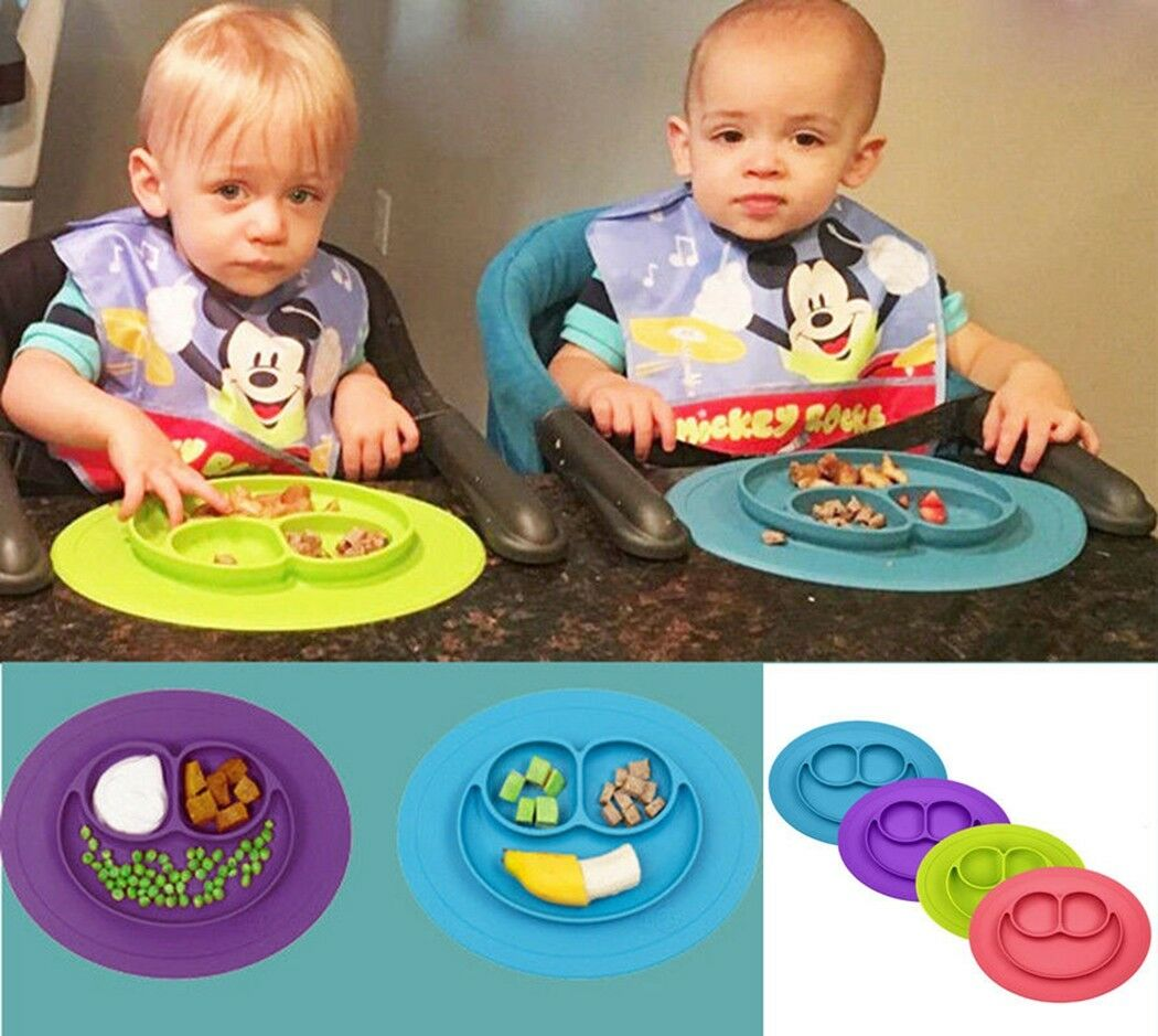 UK Cute Silicone Happy Baby Kids Suction Table Food Tray Placemat Plate Bowl Mat