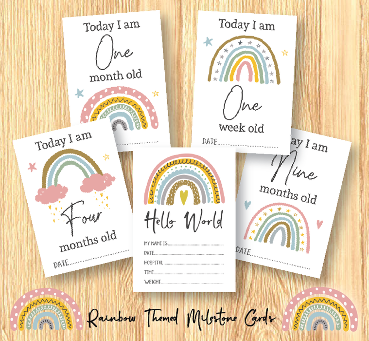 Unisex Rainbow Baby Milestone Cards • Baby Shower Gift • New Baby Gift • Cards