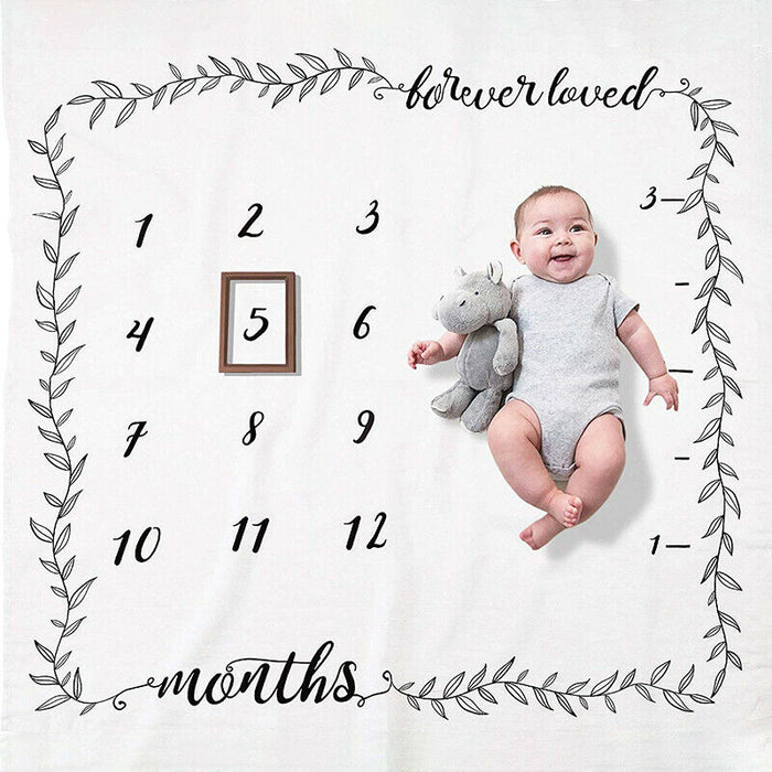 Baby Infant Monthly Growth Milestone Blanket Mat Photography Prop 100x100cm UK
