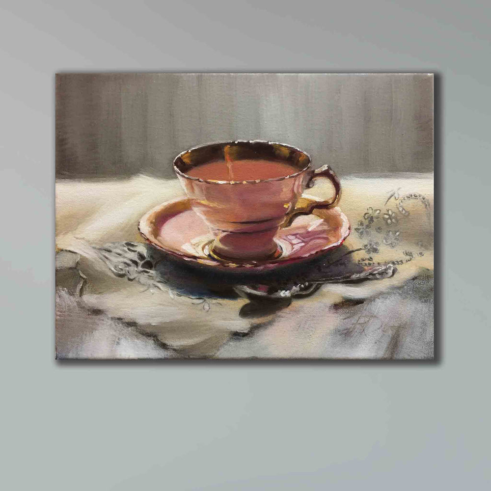 SOLD Duchess 3 TEACUP original oil painting