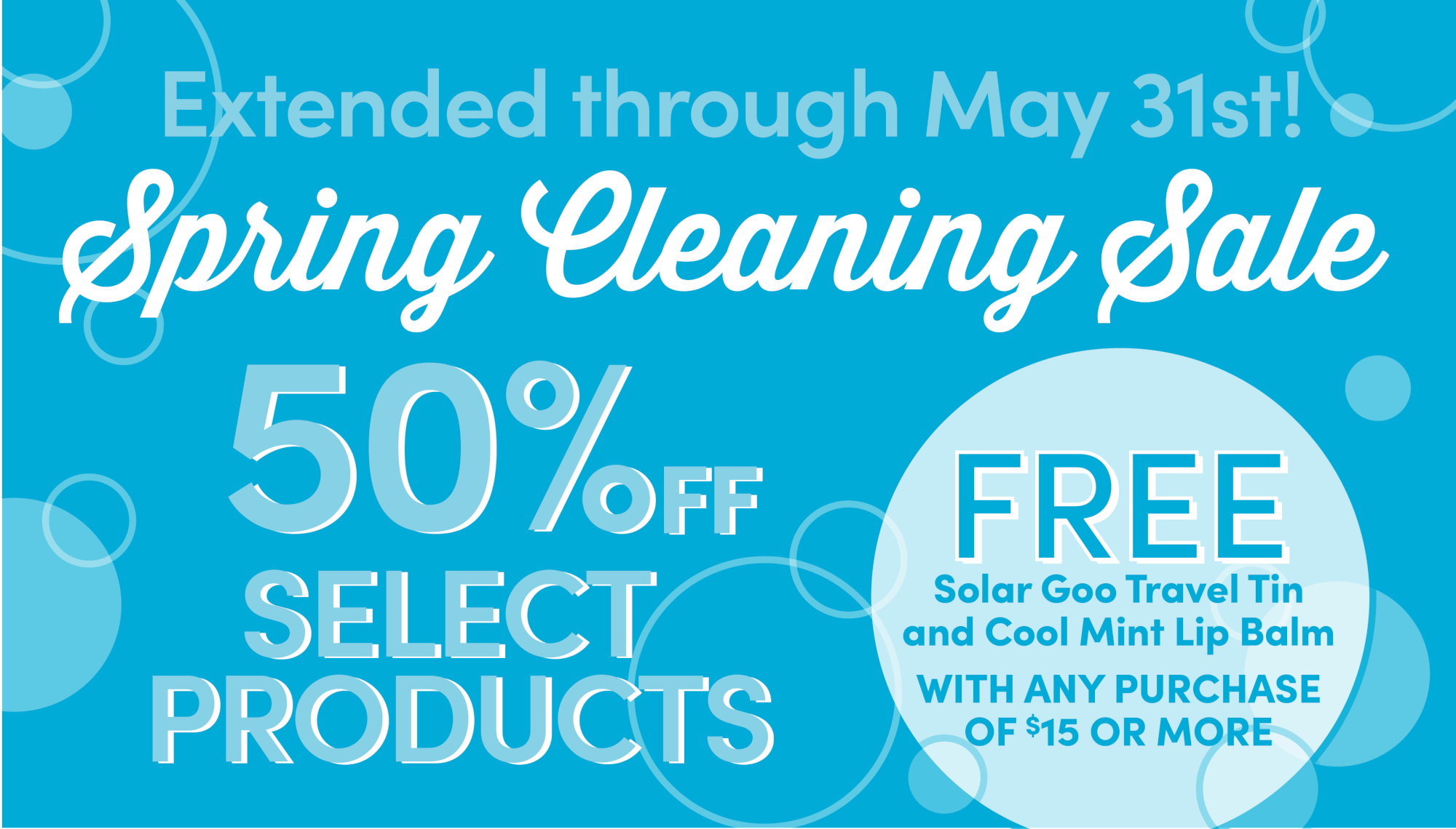 Spring Cleaning Sale. 50% Off select products.