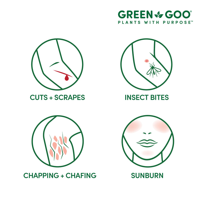Our first aid salves help against cuts, scrapes, bites, chapping, chafing and sunburns | Green Goo by Sierra Sage Herbs