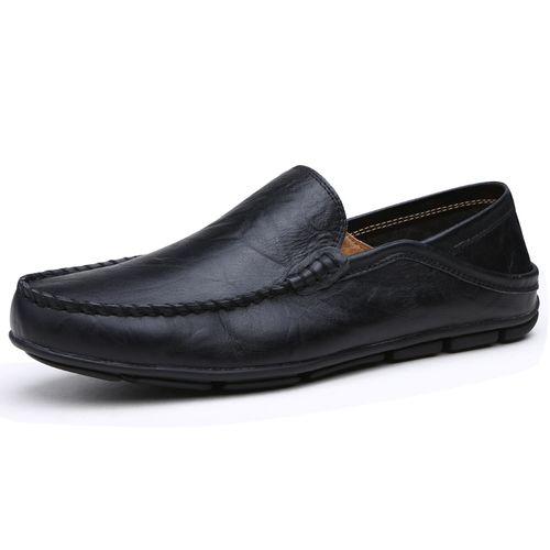 Big Size 41-45 Men Casual Moccasins Mens Slip-On Loafers Breathable Driving Black Shoes-Black