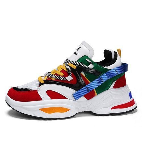 Men's Colourful Sneakers / Sports Shoes - Red/Multicolour