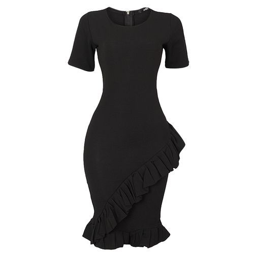 Zoey Pleated Hem Bodycon Dress - Black