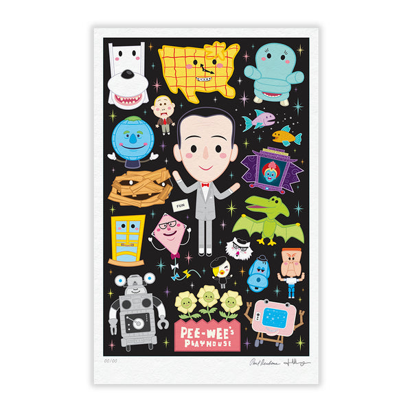 """Pee-wee's Playhouse"" TIMED EDITION 12""x18"" Signed and Numbered BLACK"