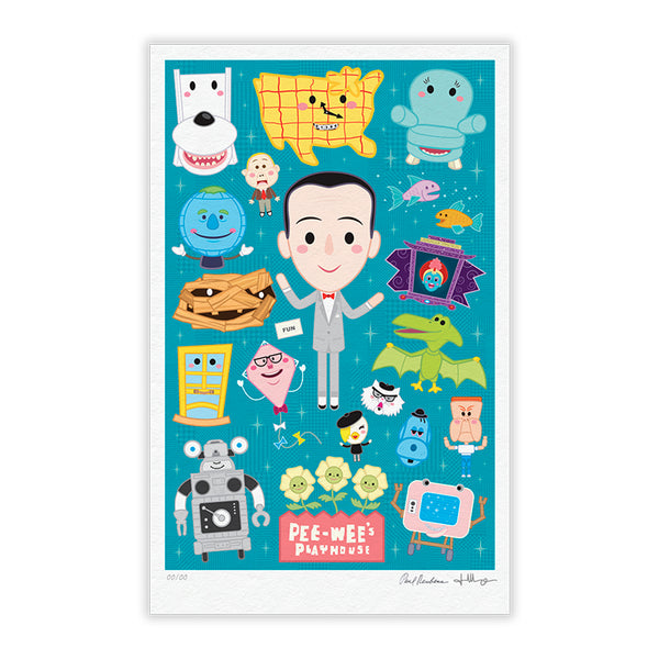 """Pee-wee's Playhouse"" TIMED EDITION 12""x18"" Signed and Numbered TEAL"