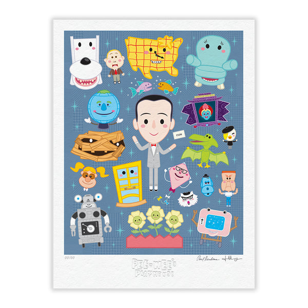 """Pee-wee's Playhouse"" LIMITED EDITION 18""x24"" Signed, Numbered, Embossed STEEL BLUE"