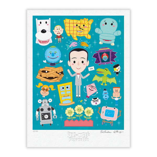 """Pee-wee's Playhouse"" TIMED EDITION 18""x24"" Signed, Numbered, Embossed TEAL"