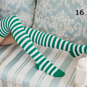 Women Girls Thigh High Socks Printed High Striped Cotton, 22 Colors Sweet Cute Plus Size Socks