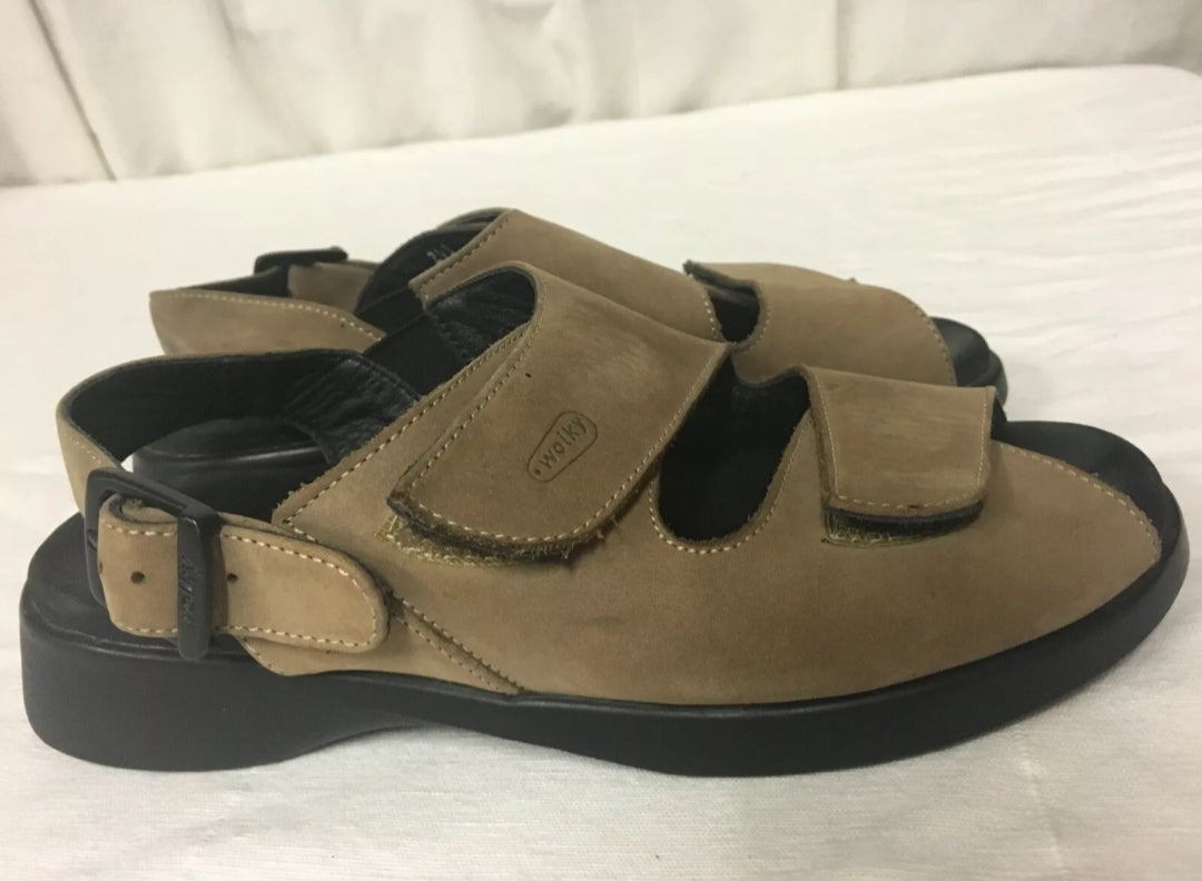 EUC WOLKY Leather Strap Cloggy Sandals Brown Mary Jane Size 36 Walking Comfort