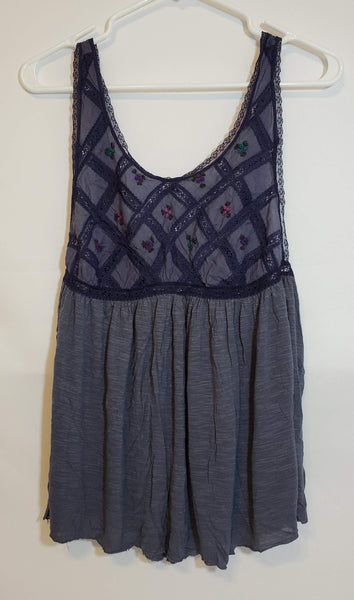 Pre-Owned FREE PEOPLE New Romantics Women's Embroidered Tank Top Size Medium