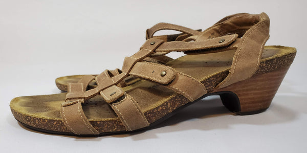 Pre-owned Taos Spirit Brown Leather Adjustable Strappy Cork Footbed Sandals Shoes Size 9