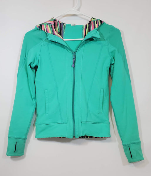 Pre-owned IVIVVA By Lululemon Reversible Hooded Jacket Girl's Size 10 Mint Green